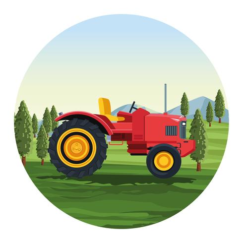Véhicule tracteur agricole vecteur