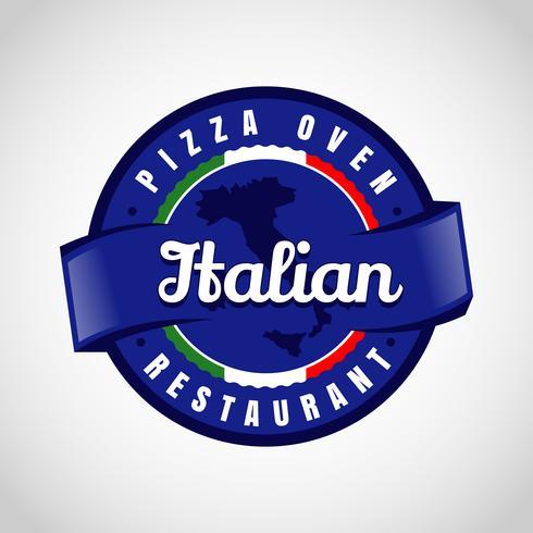 Logo Pizza Italienne Bleu vecteur