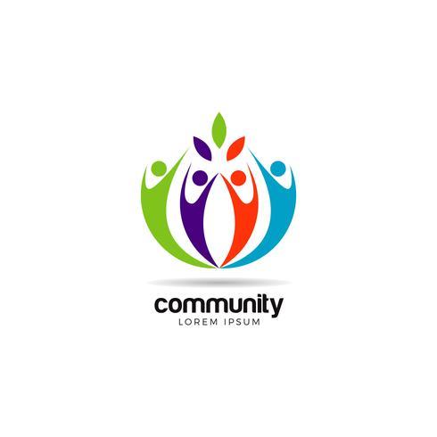 Logo communautaire coloré vecteur