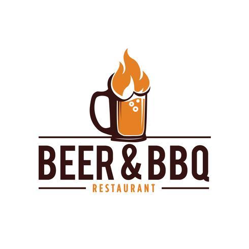 Logo Bière Et Barbecue vecteur