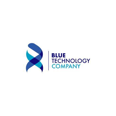 Logo ADN ruban bleu vecteur