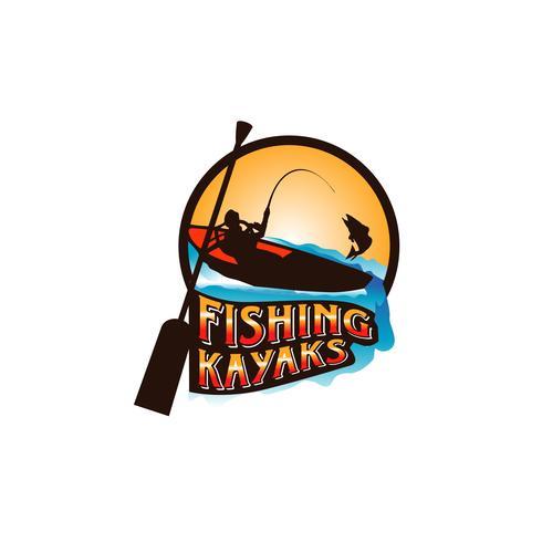 Logo de kayaks de pêche vecteur
