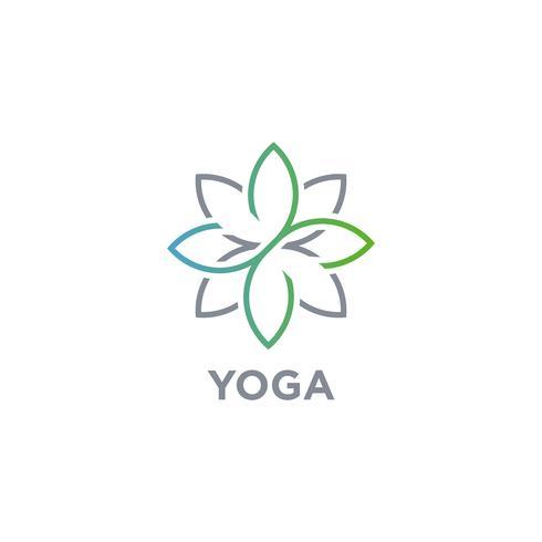 Logo de fleur de yoga vecteur