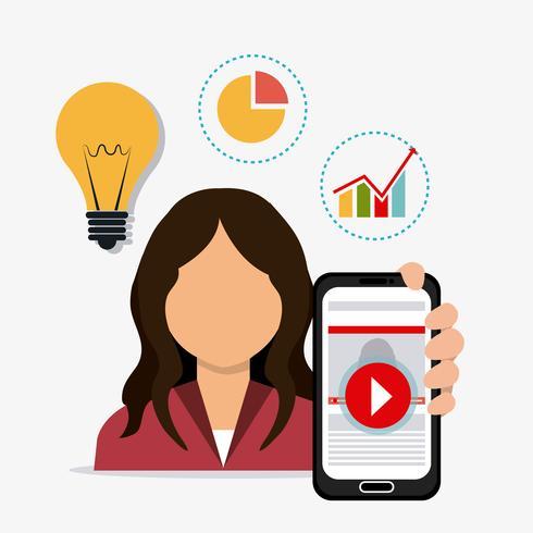 Utilisateur de marketing digital et social vecteur