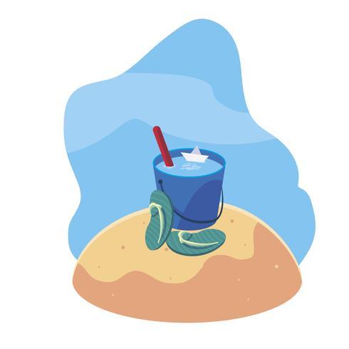 plage de sable d'été avec une scène de tongs vecteur