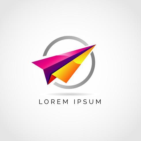 Logo de l'avion en papier coloré vecteur