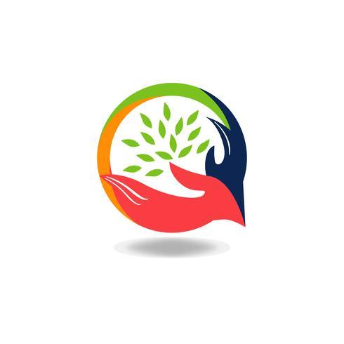 Poignée de main avec logo de feuilles vecteur
