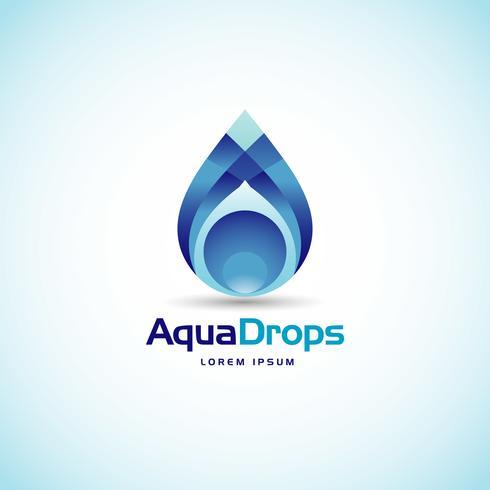 Abstrait Aqua Drops Logo vecteur