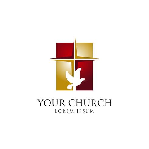 Icône de signe de logo église sainte vecteur
