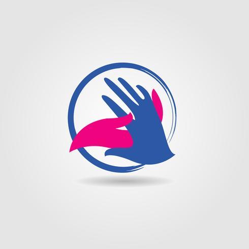 Logo social de poignée de main vecteur