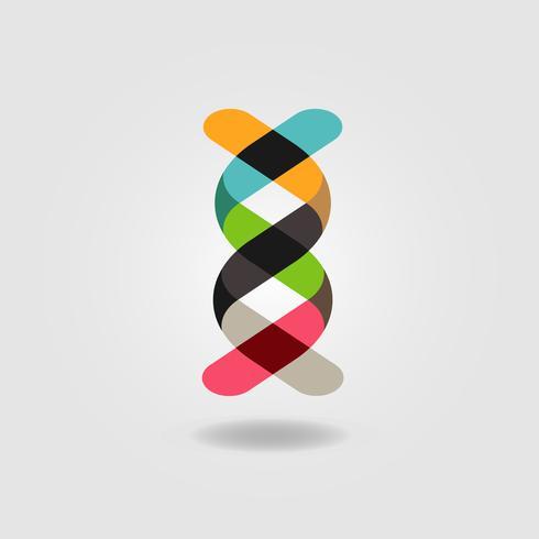 Logo de ruban ADN coloré vecteur
