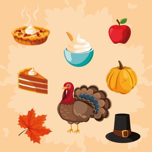 dinde du jour de thanksgiving avec icônes définies vecteur