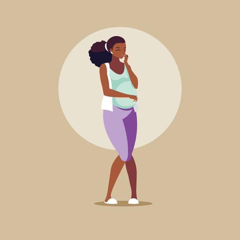 personnage avatar femme enceinte afro vecteur