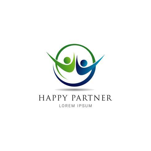 Logo simple partenaire heureux vecteur
