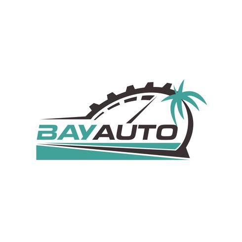 Logo automobile avec palmier vecteur