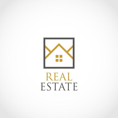 Logo Maisons dans Square Outline Real Estate vecteur
