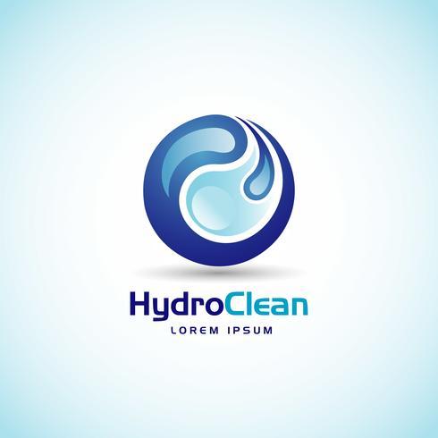 Logo bleu gouttes d'eau entrelacées vecteur