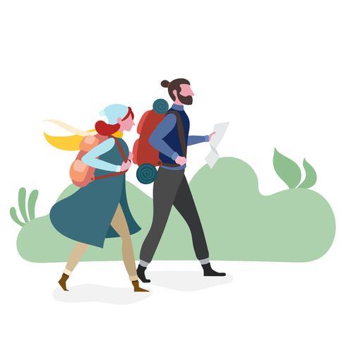 Couple, randonnée, ensemble vecteur