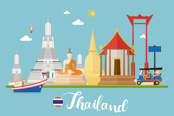 Paysage de voyage en Thaïlande vecteur