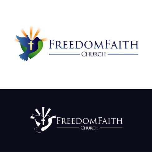 Logo de l'église avec pigeon volant sur le coeur vecteur