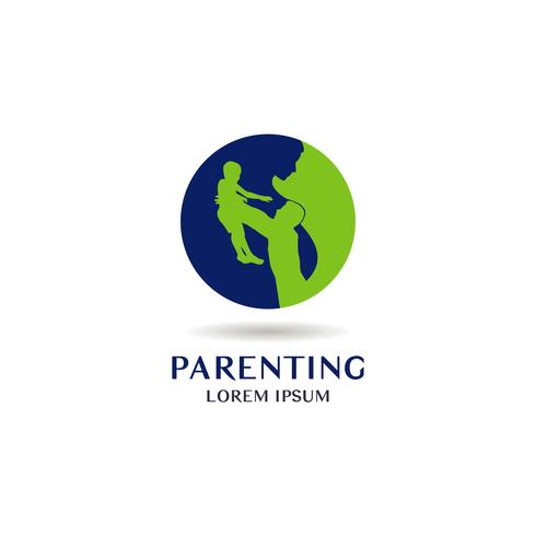 Logo parental bleu et vert vecteur