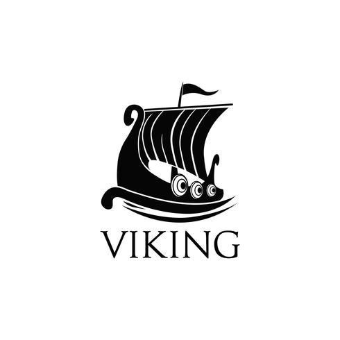 Logo de bateau viking vecteur
