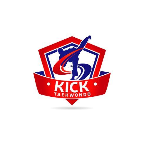 Logo de Taekwondo dans le bouclier avec bannière vecteur