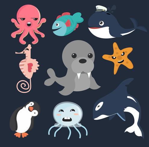 Collection d'animaux marins vecteur