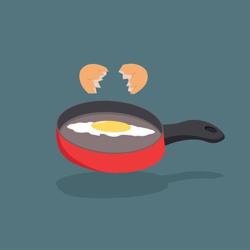 Vecteur de coquille d'oeuf cassé avec le jaune sur la cuisson de la poêle rouge