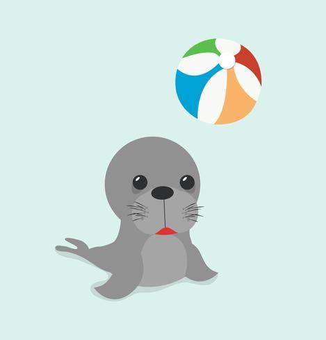lion de mer avec ballon vecteur