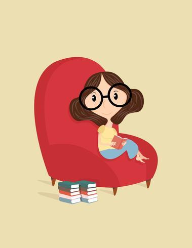 Dame lisant le livre Assis sur un canapé vecteur
