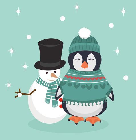 Pingouin en habits d'hiver avec bonhomme de neige vecteur