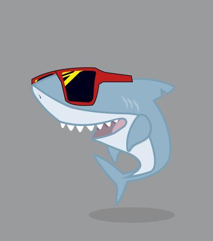 Personnage de dessin animé de requin mignon avec des lunettes vecteur