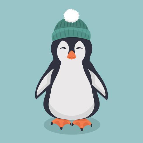 pingouin souriant avec un vecteur de dessin animé de chapeau vert