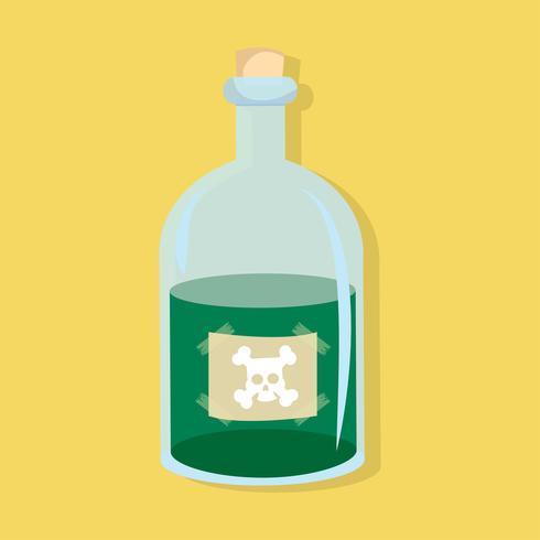 Bouteille de style plat vert poison vecteur