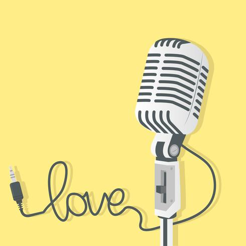 Microphone rétro avec prise audio vecteur