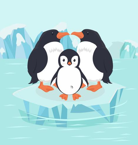 Pingouin et bébé dans le pôle Nord de l'Arctique vecteur