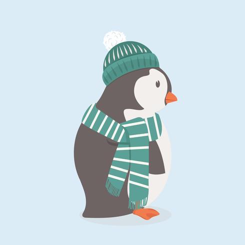 Joli pingouin avec bonnet vert et écharpe vecteur