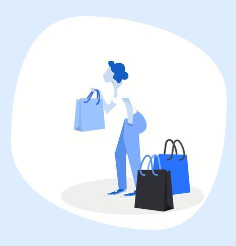 Femme tenant des sacs à provisions vecteur