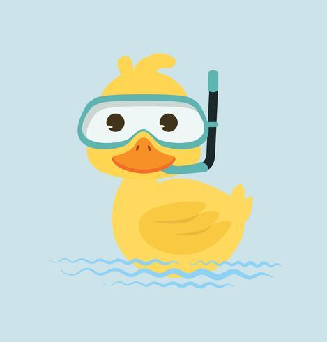 Canard plongée en apnée dans l'eau vecteur