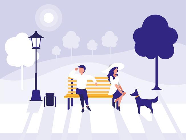 couple dans le personnage du parc avatar vecteur