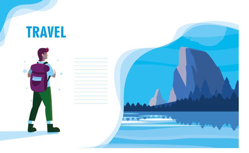paysage avec lac et modèle de voyageur vecteur