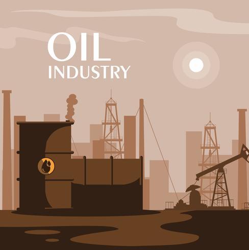 scène de l'industrie pétrolière avec derrick vecteur