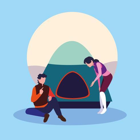 jeune couple avec tente campaing vecteur