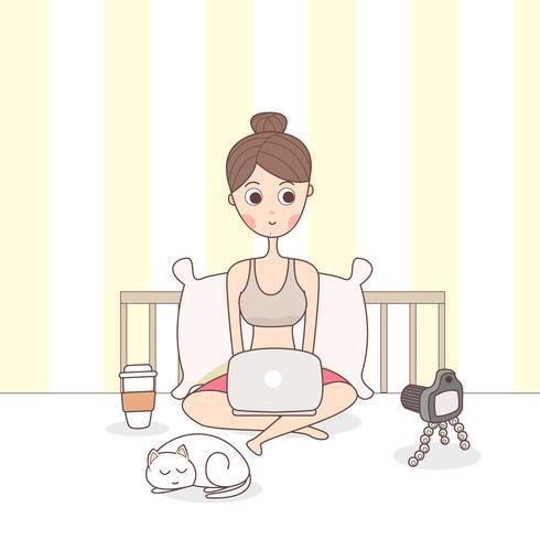 Blogger Girl Créer du contenu vecteur