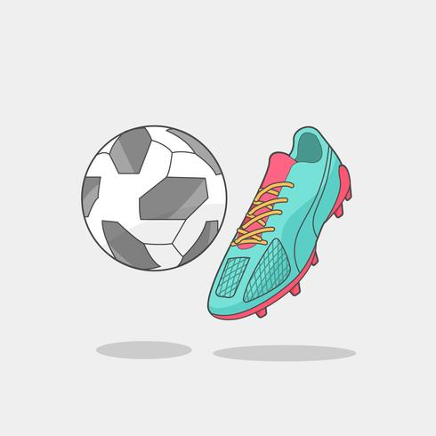 Ballon de foot et pointes vecteur