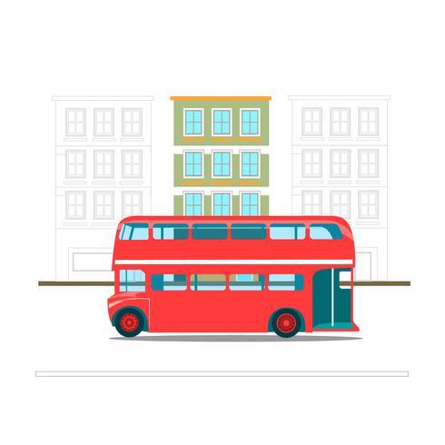 Autobus de transport rouge à deux étages vecteur