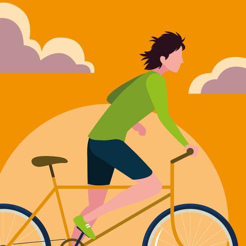 jeune homme à vélo avec ciel orange vecteur