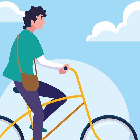 jeune homme à vélo avec ciel et nuages vecteur