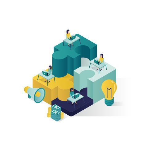 illustration isométrique de concept de travail d'équipe vecteur